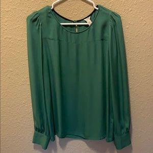J.Crew Emerald Green Long Sleeved Blouse